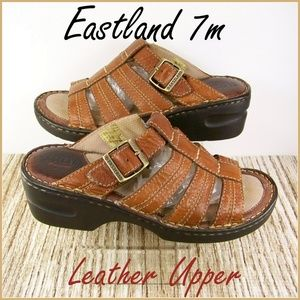 7M Eastland Brown Buckle Leather Up Sandals